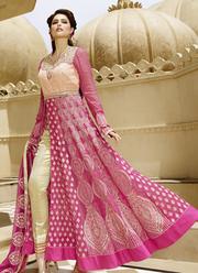 Online Pink Designer Floor Length Anarkali Salwar Kameez