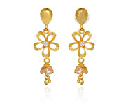 Gold Flower Dangler Earrings | Gold Earrings manufacturer