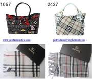 LV , BURBERRY HANDBAG AND SCARF